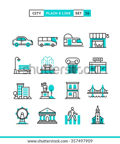 City, transportation, culture, shopping and more. Plain and line icons set, flat design, vector illustration