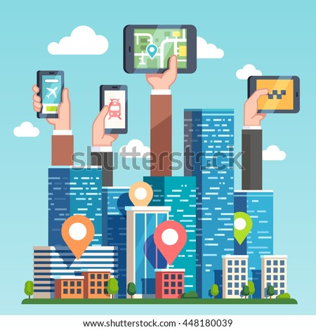 City transportation IT infrastructure and cloud computing technology concept. Urban area gps map navigation smart devices, phones and tablets. Skyscrapers and hands. Flat style vector illustration.
