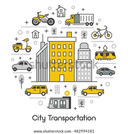 city transportation line art