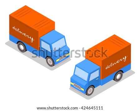 City trucks for distribution of goods. Cargo delivery. Cars isometric. on both sides. Vector illustration