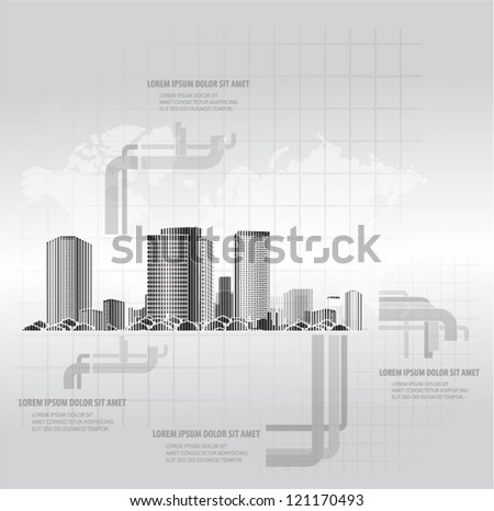 City vector background with world map
