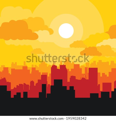 city vector  beautiful clouds