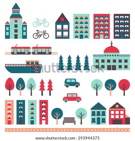 city vector set  houses  road
