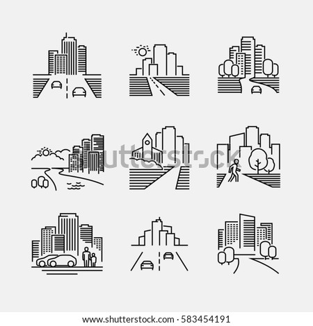 City vector thin line style icons