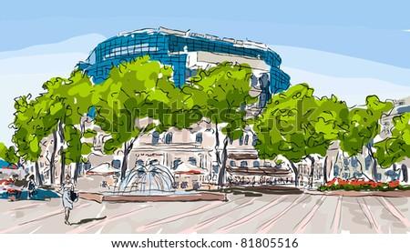 city vector watercolour landscape