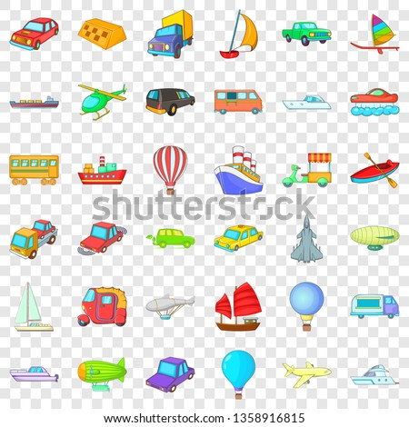 City vehicle icons set. Cartoon style of 36 city vehicle vector icons for web for any design