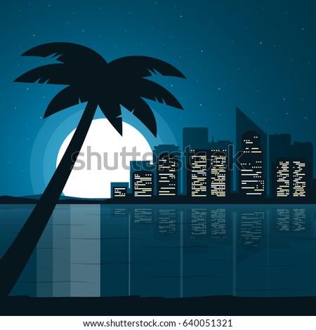 city view at night night beach