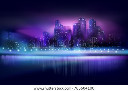 City view at the night. Vector illustration