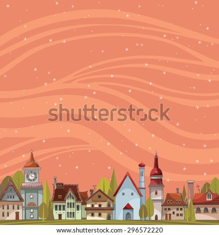 city view landscape with houses