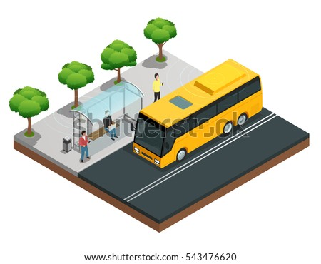 City wireless communication isometric concept with people on a bus stop vector illustration