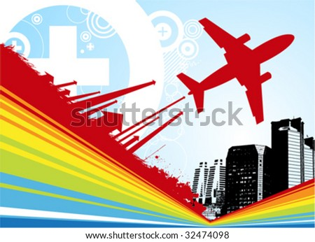 city with airplane illustration vector