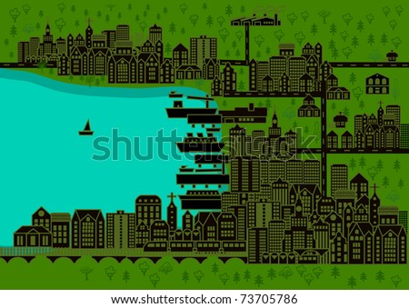 City with buildings and a port with ships
