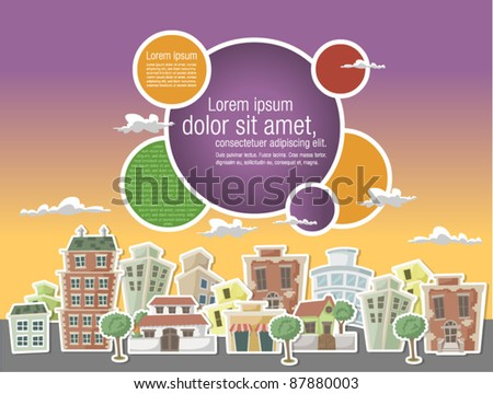 City with buildings and houses - stock vector
