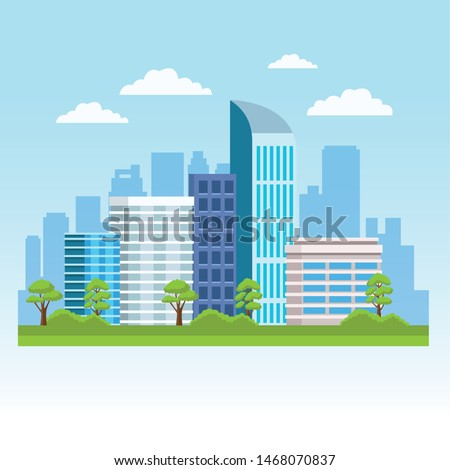 City with buildings and nature, urban scenery at sunny day. vector illustration graphic design.