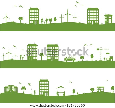 city with cartoon houses  green