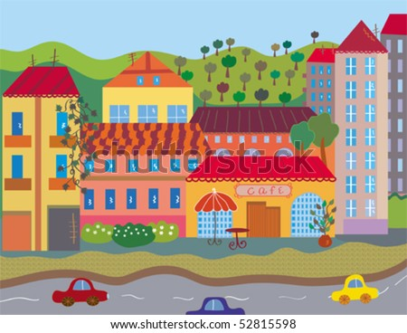 City with houses and trees