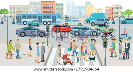 City with road traffic, apartment buildings and pedestrians on the sidewalk Foto stock ©