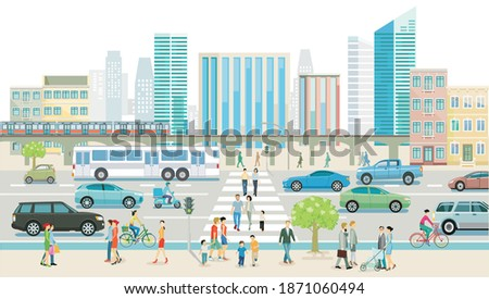 city with road traffic
