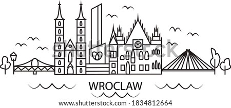 City Wroclaw (Poland), line art design