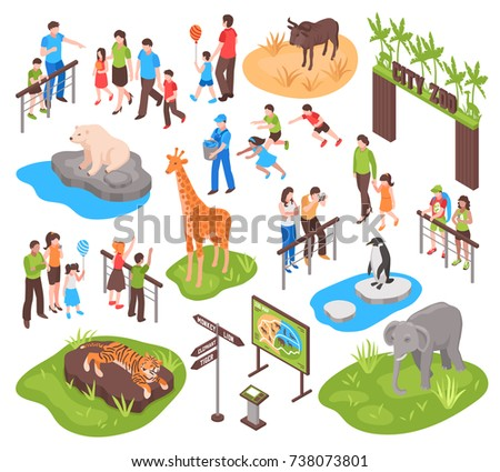 City zoo isometric set with children and their parents watching animals and photographing them isolated vector illustration