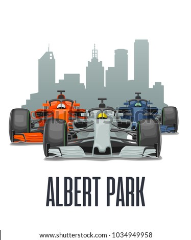 Cityline Albert park Melbourne and three racing cars on Grand Prix Australia. Vector flat illustration isolated on white background for poster, web icon