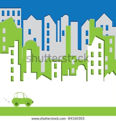 Cityscape. Abstract building with car. Environtment concept. Vector illustration.
