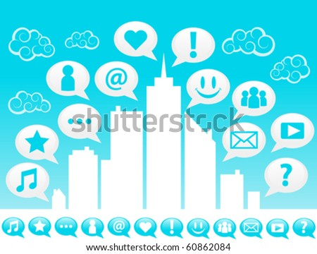 Cityscape and social icons.
