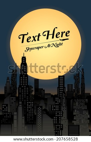 cityscape at night with full moon. Vector illustration