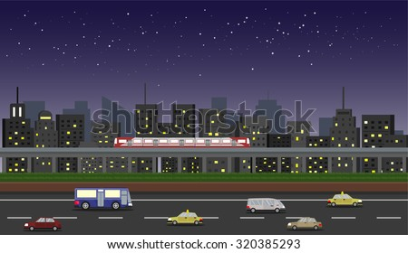 cityscape at night with star
