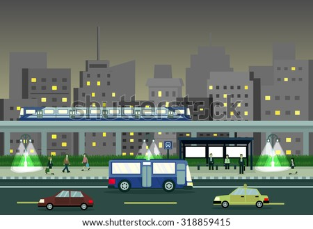 cityscape at night with train
