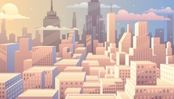 Cityscape at sunrise. Basic (linear) gradients used. No transparency.