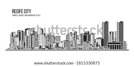 Cityscape Building Abstract shape and modern style art Vector design -  Recife city (brazil) Foto stock ©