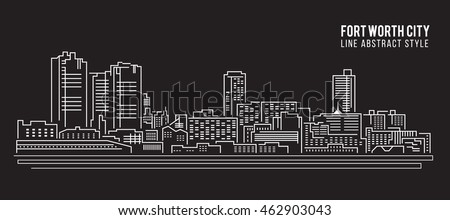 Cityscape Building Line art Vector Illustration design - Fort worth city