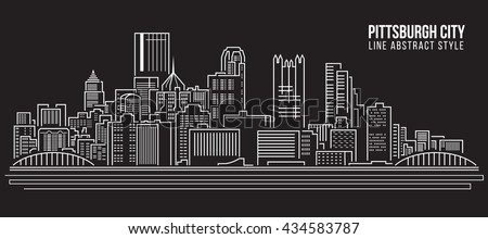 Cityscape Building Line art Vector Illustration design - Pittsburgh City
