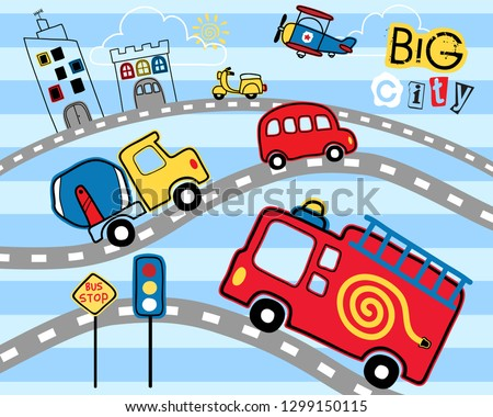 Cityscape cartoon with vehicles in the road on striped background