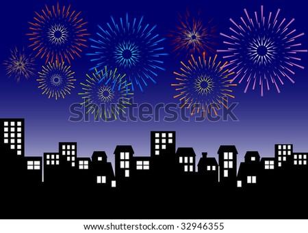 cityscape   exploding fireworks