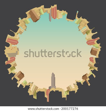 cityscape fish eye view  vector
