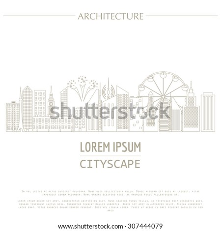 Cityscape graphic template. Modern city architecture. Vector illustration with different modern city buildings, such as office buildings, skyscrapers, houses, entertainments. City constructor. Outline
