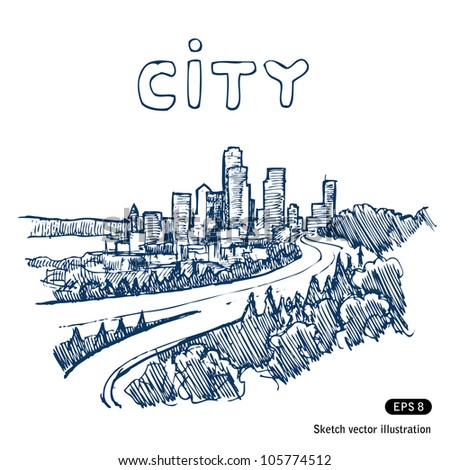 Cityscape. Hand drawn sketch illustration isolated on white background