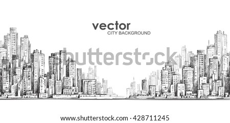 cityscape hand drawn vector