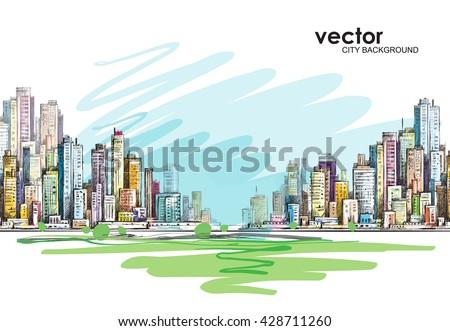 cityscape hand drawn vector