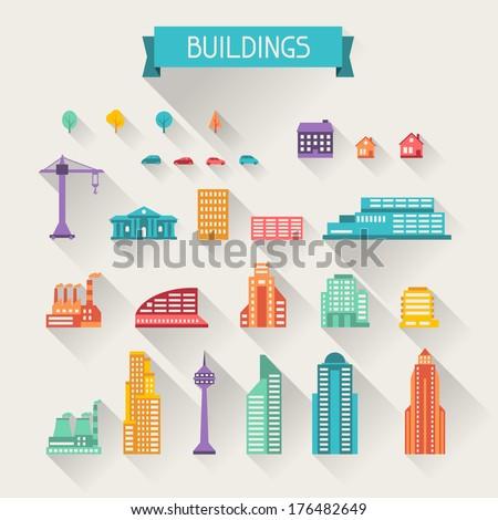 cityscape icon set of buildings