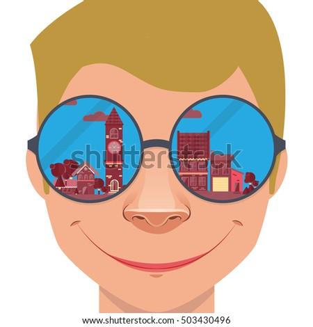 cityscape mirrored in  glasses