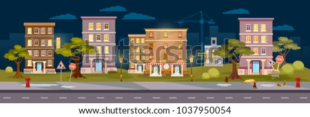 Cityscape night panoramic banner, city town night life vector illustration #1037950054