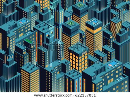 cityscape of night new york