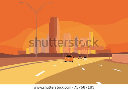 cityscape orange and yellow