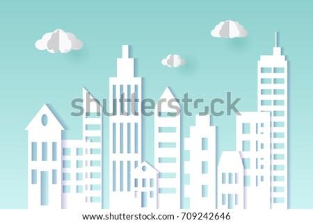 Cityscape paper art style. City concept. Vector illustration design