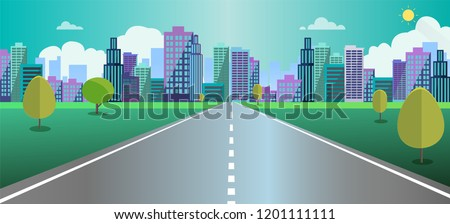 stock-vector-cityscape-scene-with-road-trees-and-sky-background-vector-illustration-main-street-to-fantasy