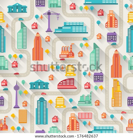 cityscape seamless pattern with