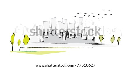cityscape, simple symbolic drawing, vector